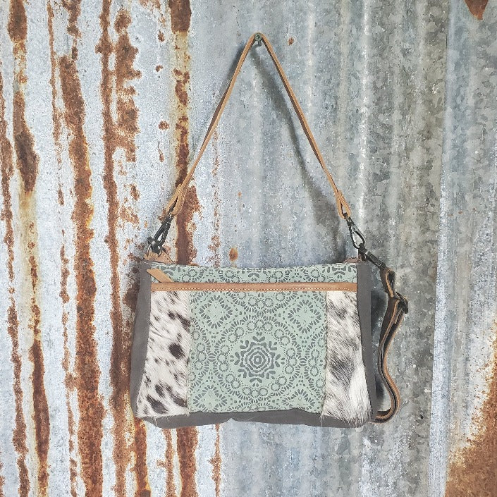 Turquoise Floral Pattern and Cowhide Dual Strap Front