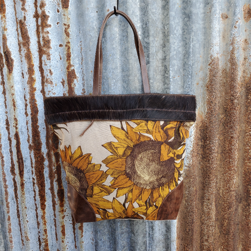 Sunflower Cowhide Tote Front