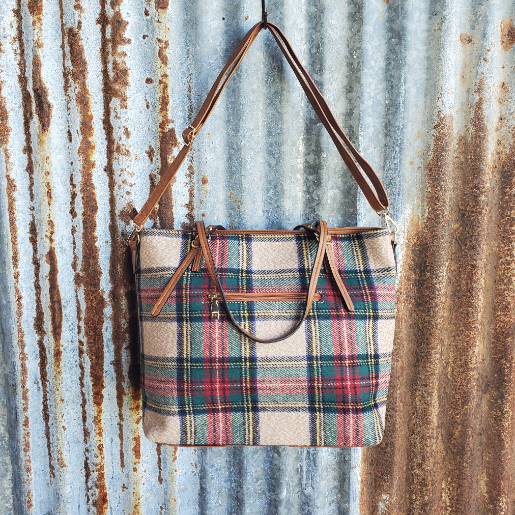 Multi Color Plaid Tote Back
