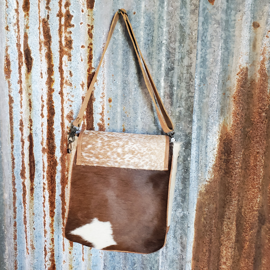 Multi-Color Cowhide Messenger Bag Back