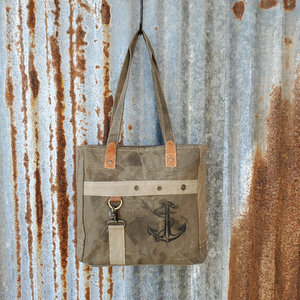 Brown Anchor Print Tote Front