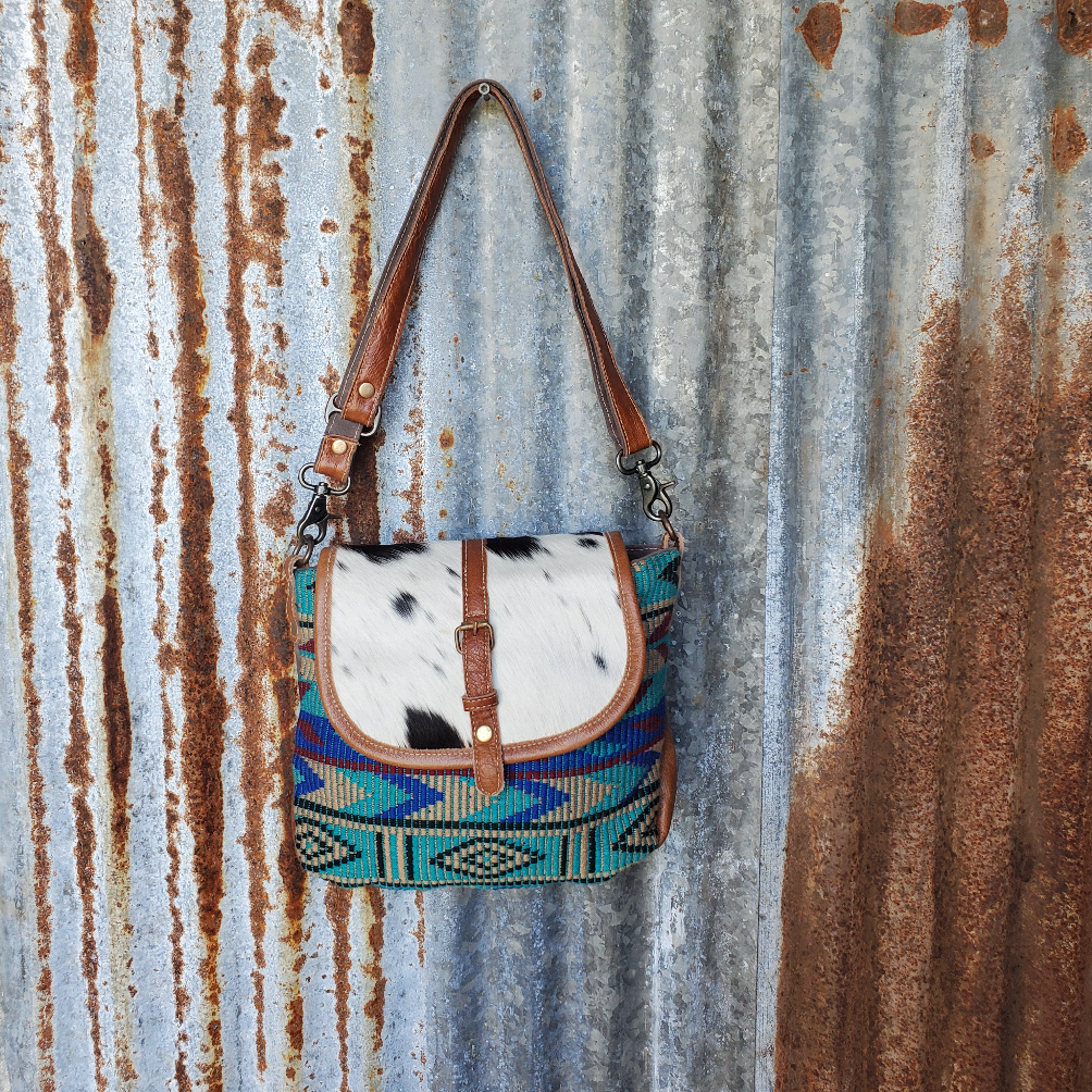 Aztec Pattern with Cowhide  Cross Body Front