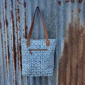 Diverse Blue Tooled Tote Back