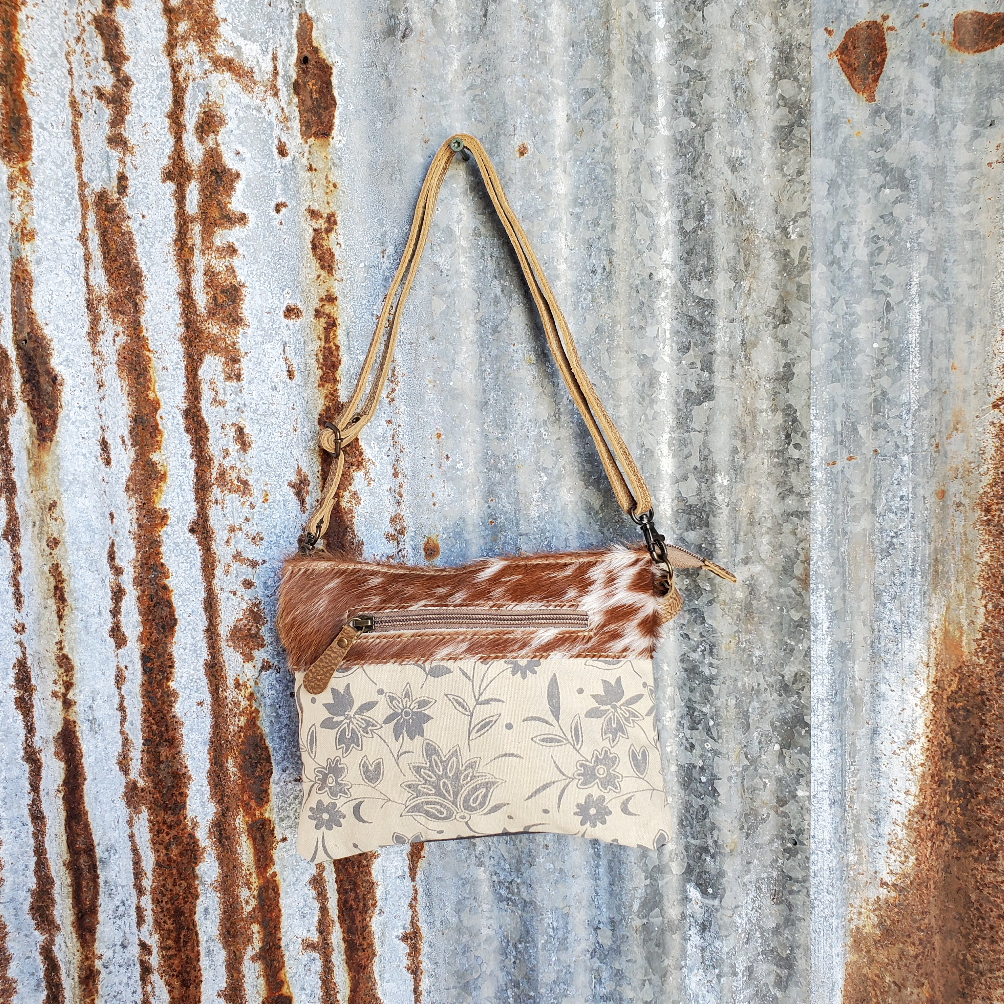 Cream Floral and Cowhide Cross Body Front