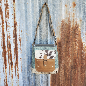 Small Turquoise Front Pocket Cross Body Front