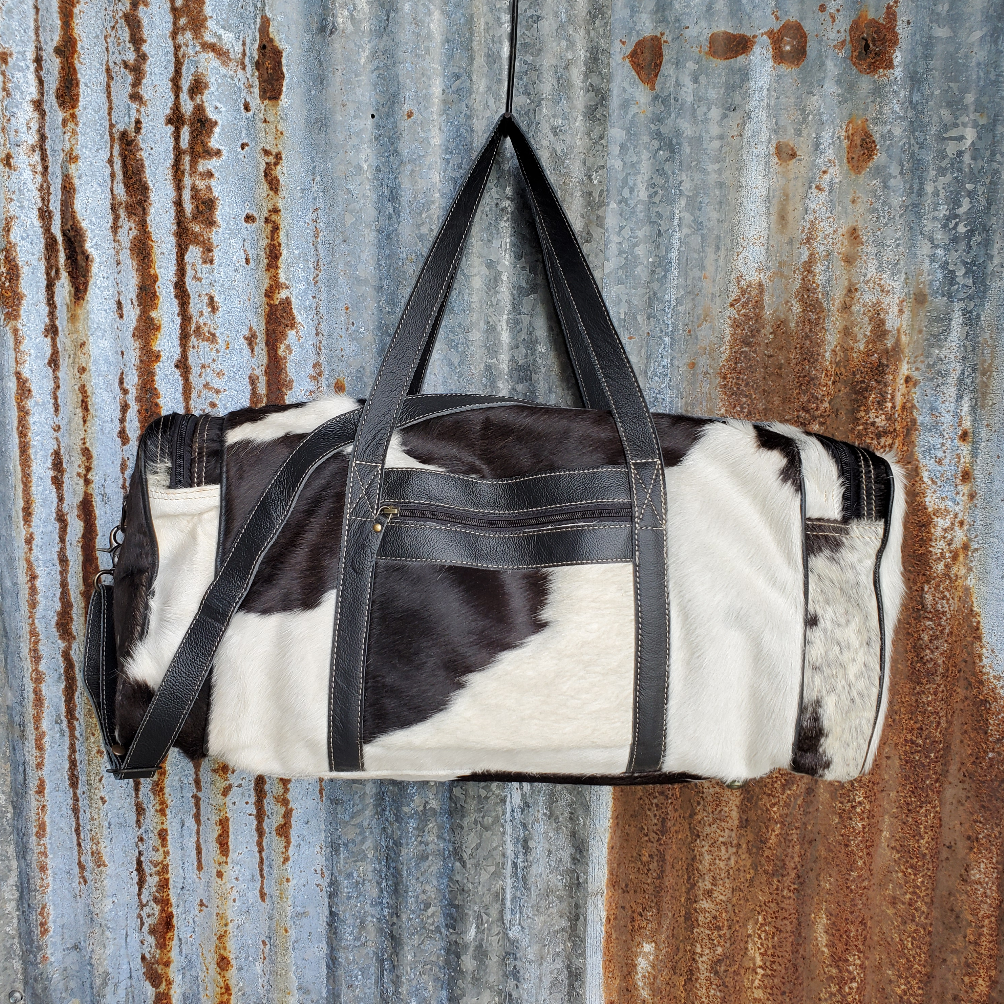 Black and White Cowhide Duffel Bag Front