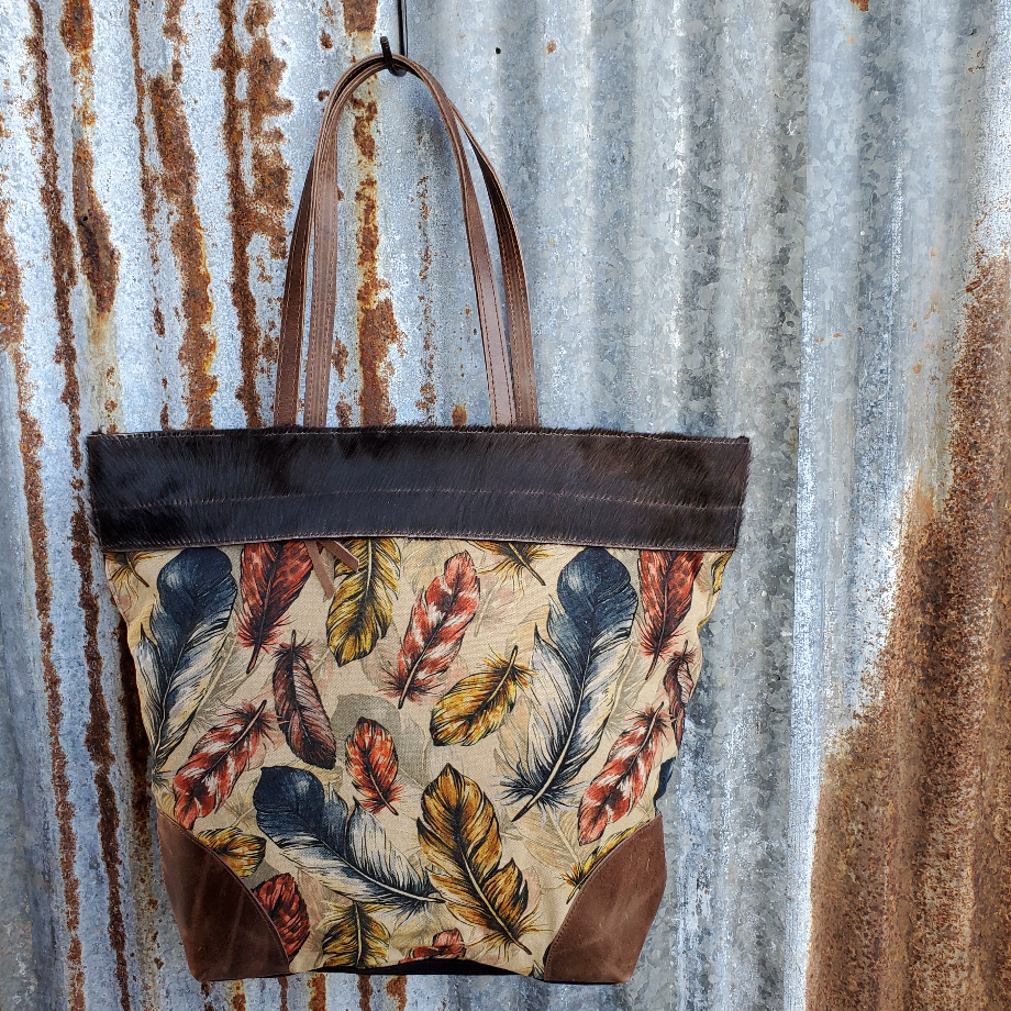 Feather Cowhide Tote Front