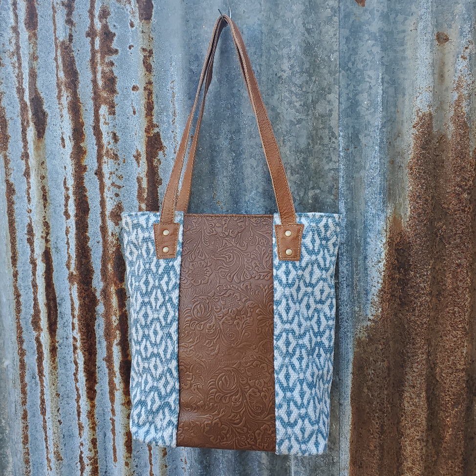 Diverse Blue Tooled Tote Front