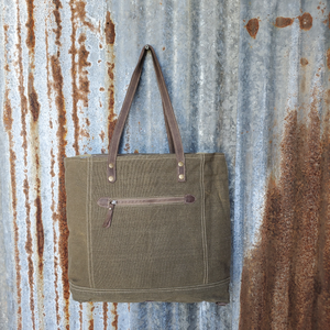 Lone Wolfe Canvas Tote Back