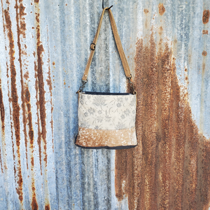 Creamy Leaf  and Cowhide Cross Body Front