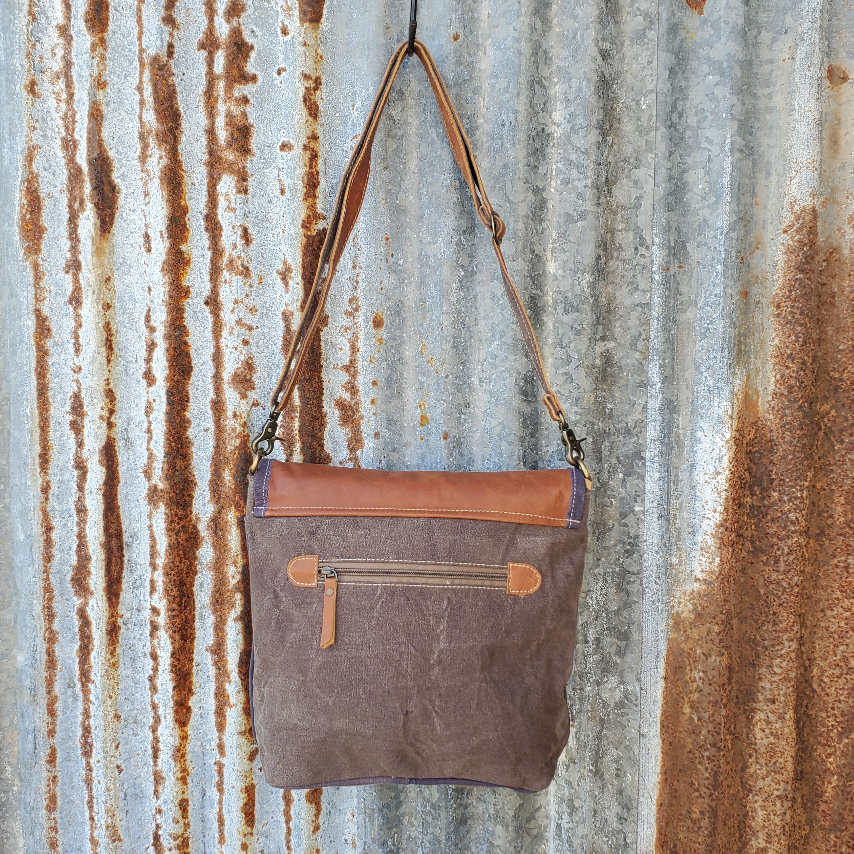 Brown Leather Fold-over Flap Crossbody Back