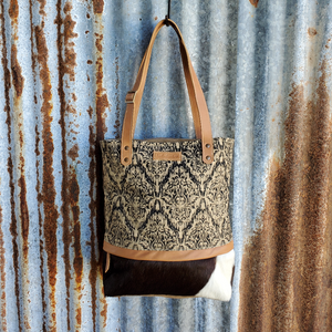 Happy Hand and Cowhide Tote Front