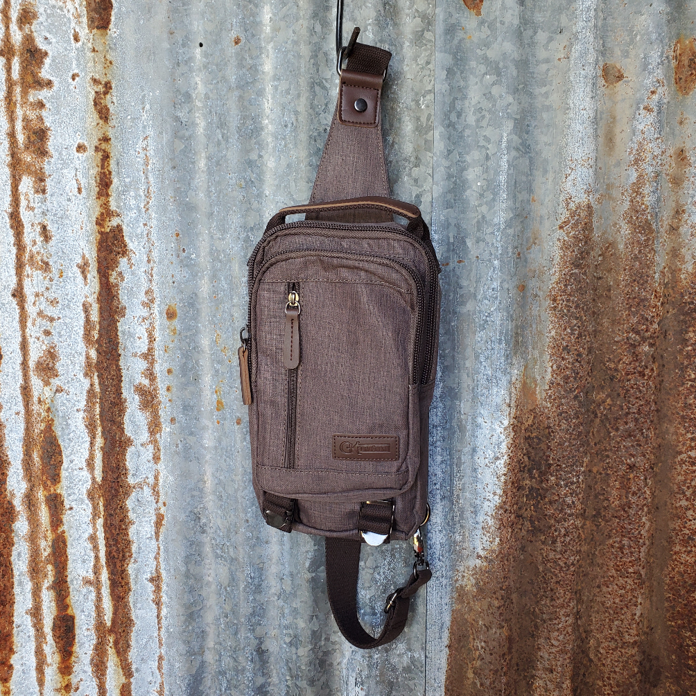 Small Brown Canvas and Leather Sling Front