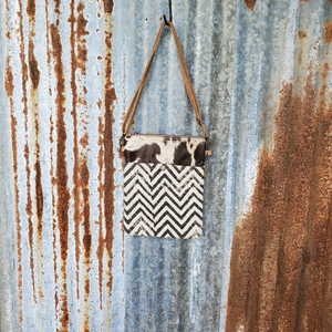 Small Chevron Pattern Cowhide Cross Body Front