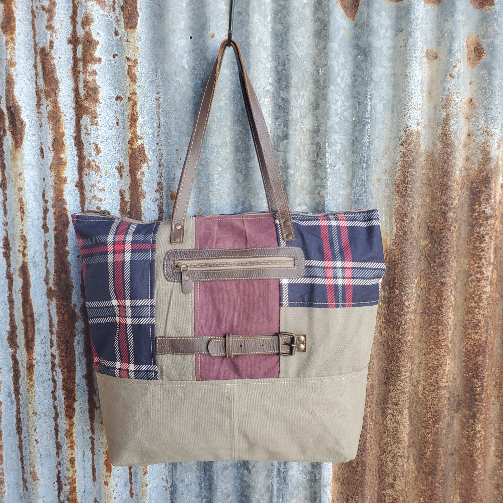 Blue Plaid Tote Back