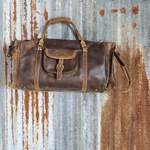 Oil Rubbed Leather Duffel Bag Front