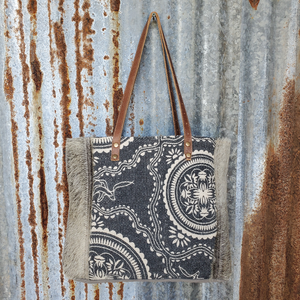 Blue Floral Cowhide Tote Front