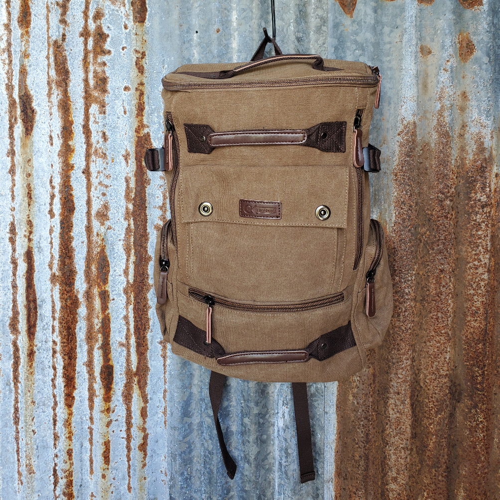 Large Brown Canvas Back Pack Front