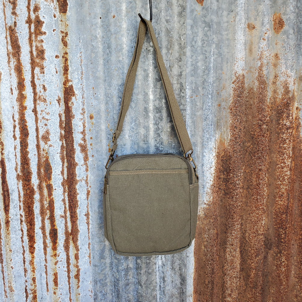 Small Khaki Canvas Messenger Bag Back