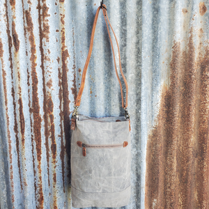 "Gray and Mauve Canvas Crossbody, Leather and Cowhide Trim, 26"" Leather Adjustable Shoulder - M&Y"