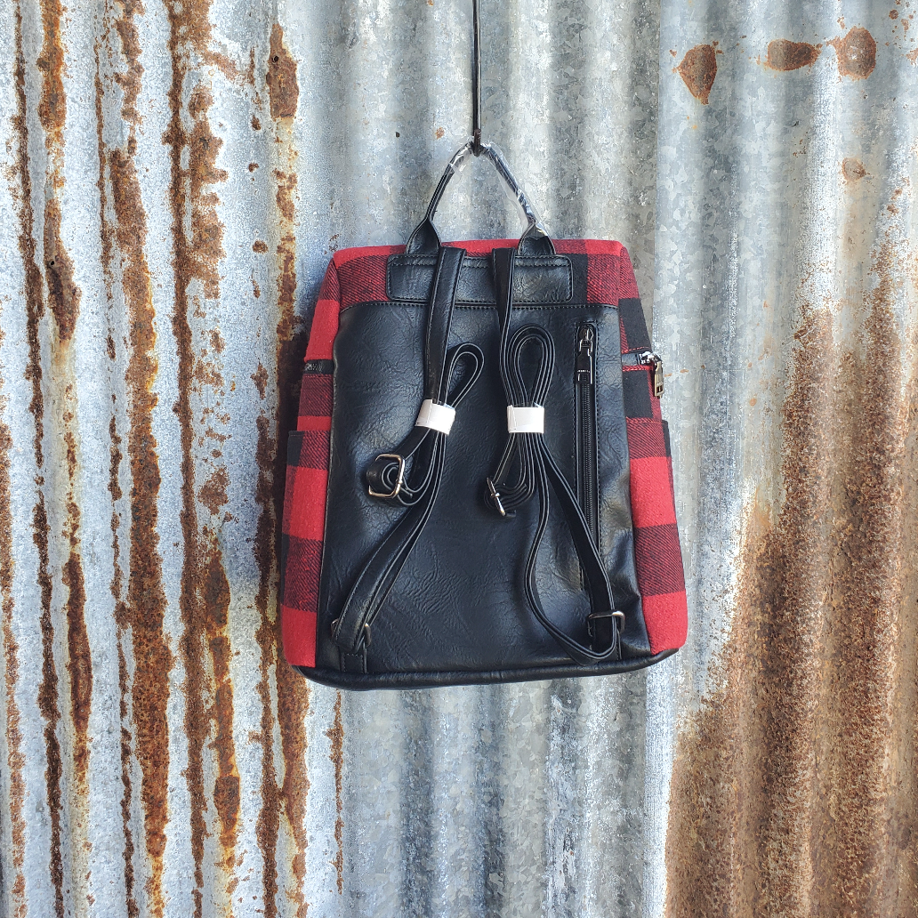 Red and Black Plaid Backpack Back