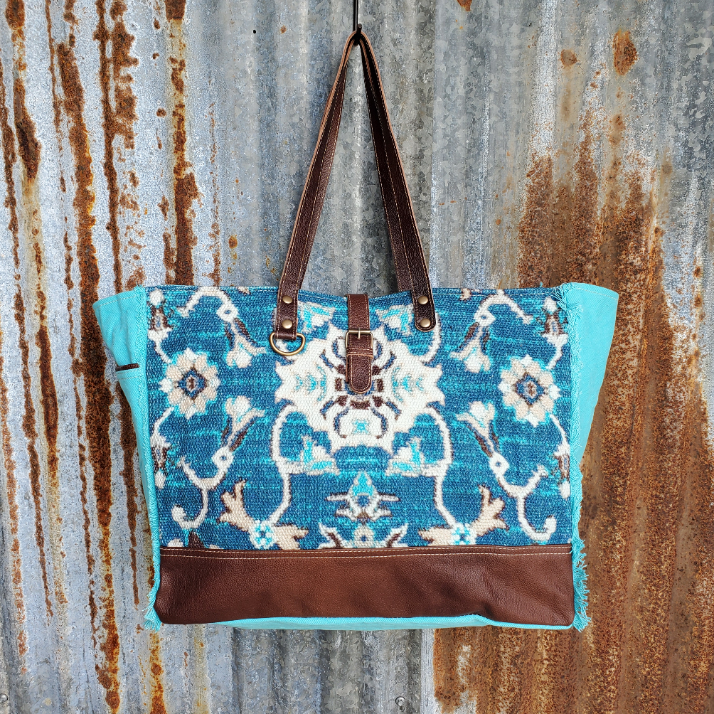 Seafoam Blue Canvas and Leather Weekender Bag Front