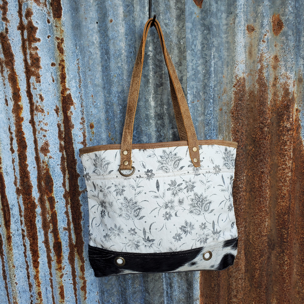 Floral and Cowhide Tote Front
