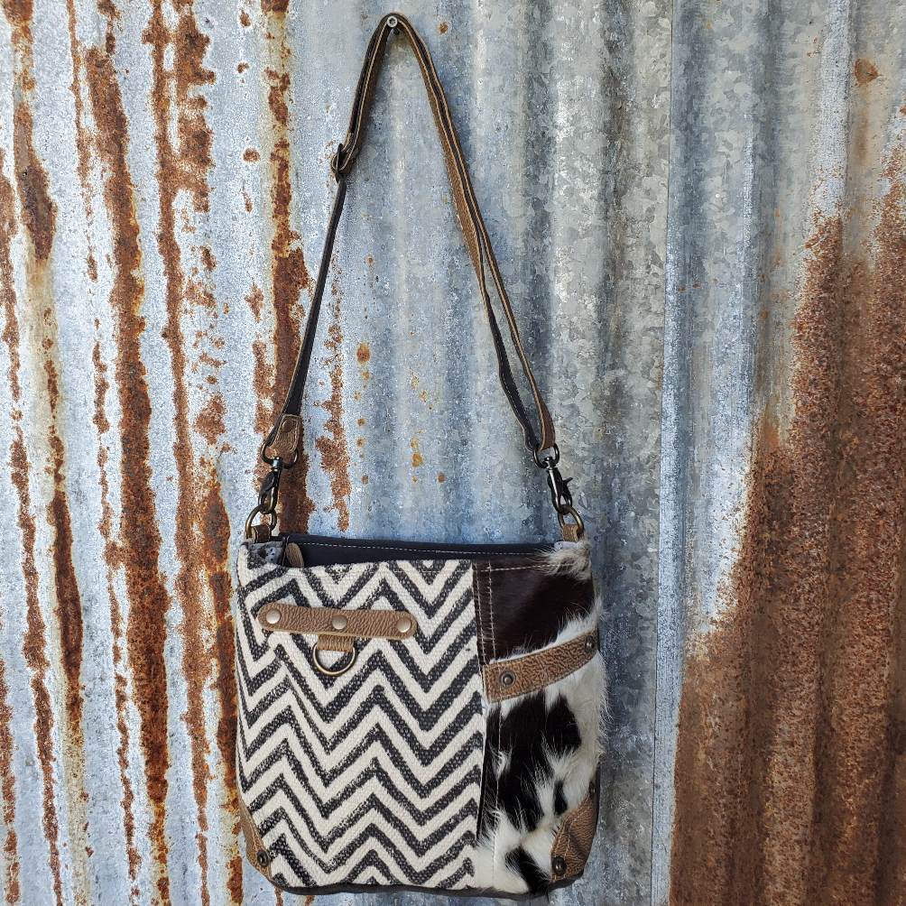 Chevron and Cowhide Pocket Cross Body Front