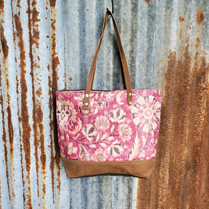 Pink Spring Flower and Leather Tote Front