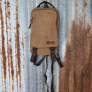 Medium Brown Canvas Back Pack Front