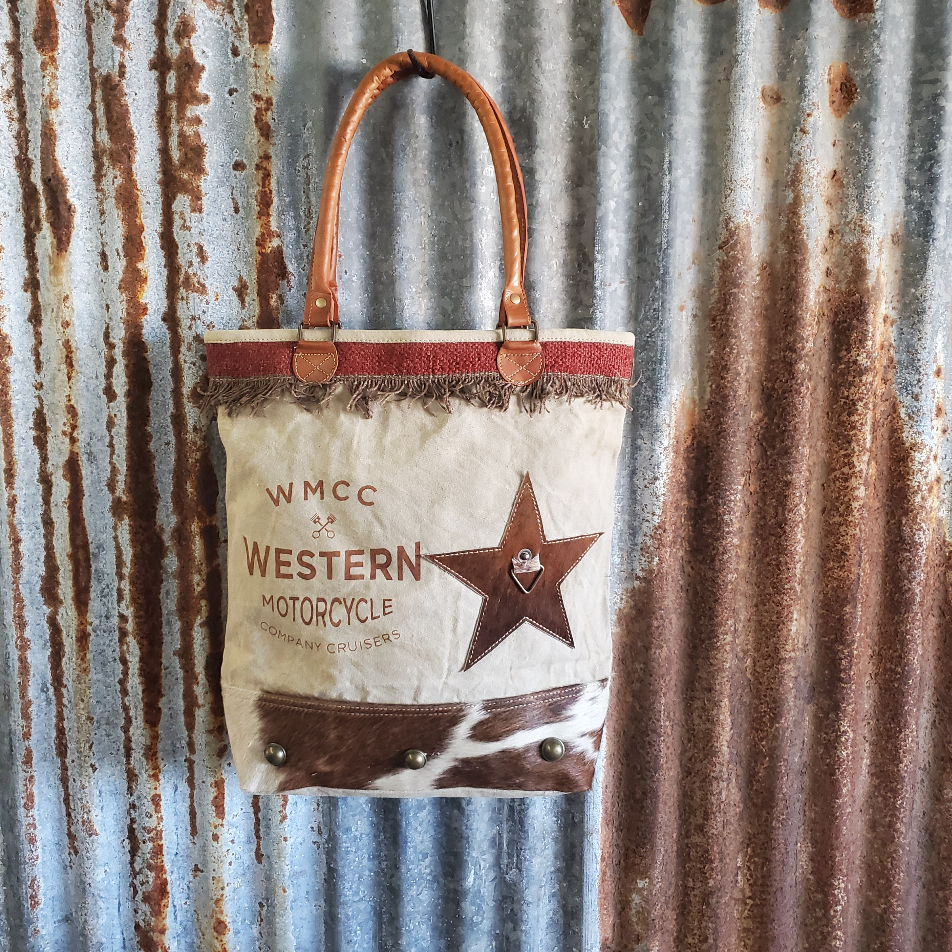 Western Star Cowhide Tote Front