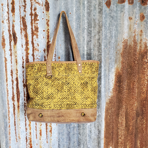 Yellow, Brown and Black Cross Pattern Tote Front