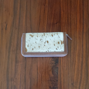 Brown and White Cowhide Wallet Front
