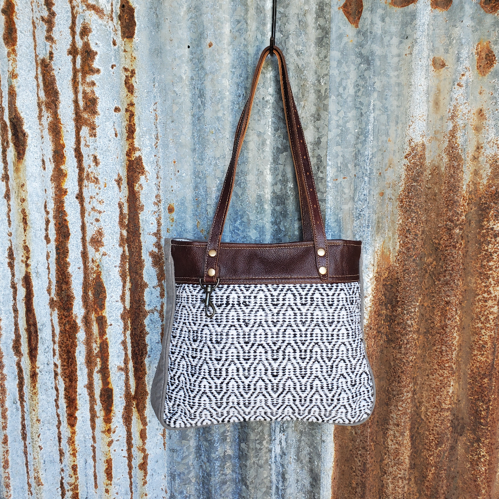 Wave Pattern and Leather Tote Front