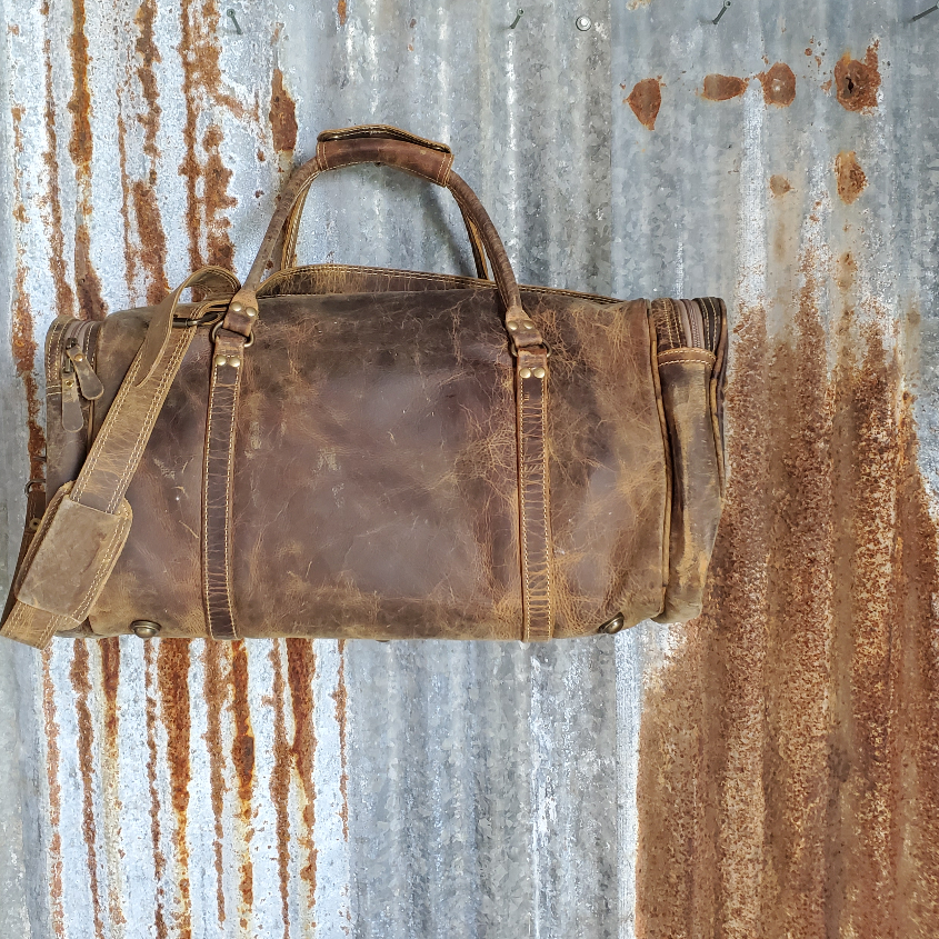 Oil Rubbed Leather Duffel Bag Back