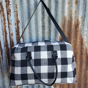 Black and White Plaid Duffle Bag Front