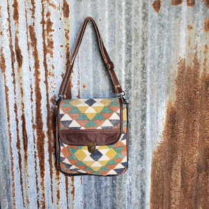 Multi Colored Canvas Cross Body Front