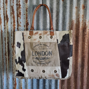 London Print Cowhide Tote Front