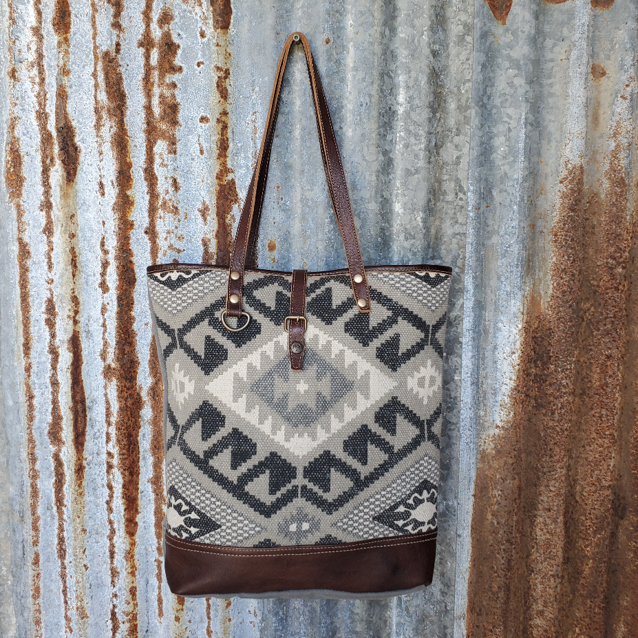 Diamond Pattern Canvas and Leather Tote Front
