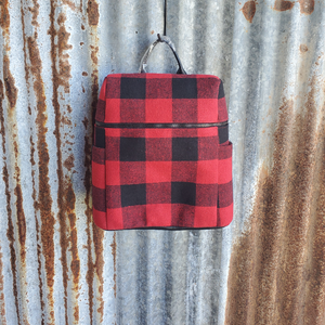 Red and Black Plaid Backpack Front
