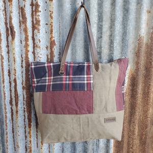 Blue Plaid Tote Front