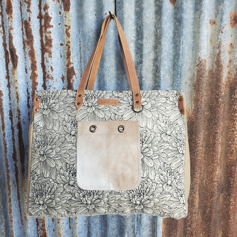 Blossom Cowhide Weekender Front