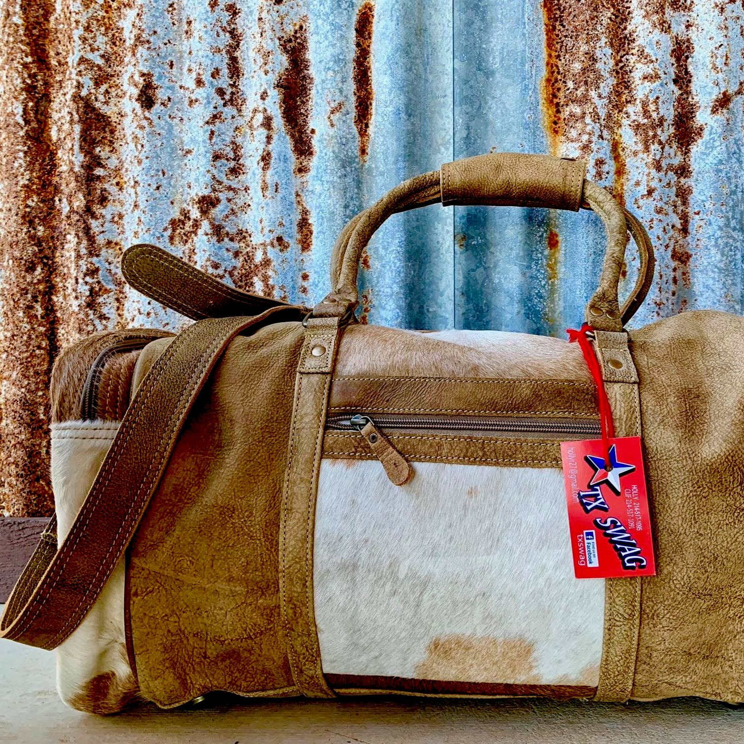 Cinnamon and Cream, Cowhide and Leather Duffel Bag Back