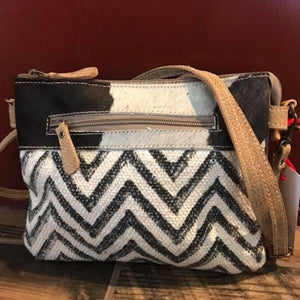 Small Chevron and Cowhide Cross Body Front Close Up