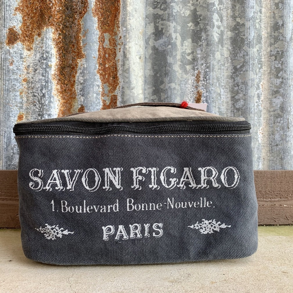 Blue and White, Paris Style Design, Canvas and Leather. Shaving Kit and Makeup Bag