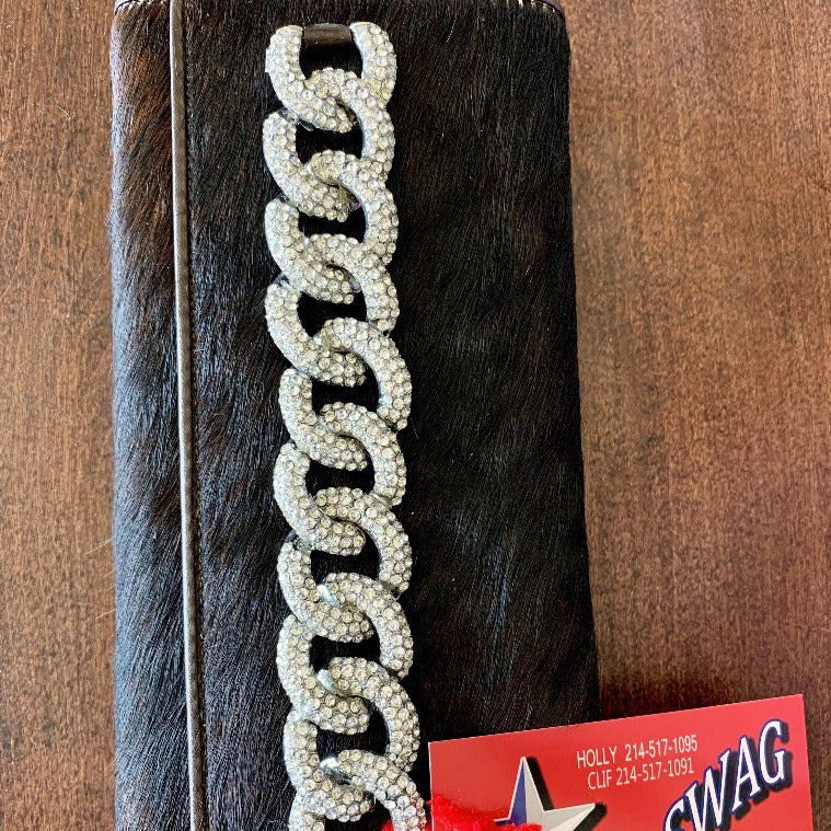 Dark Brown cowhide wallet, tri-fold with Credit Card Sleeves, Diamond Linked Band on the Front - Ravini