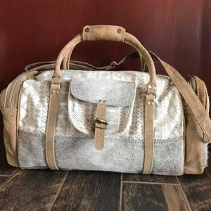 Cream Colored. Aztec Pattern, Cowhide, Duffel Bag - Myra