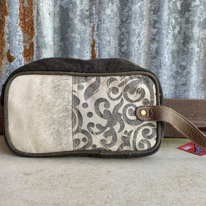 Black and Gray, Paisley Pattern, Cowhide Shaving Kit