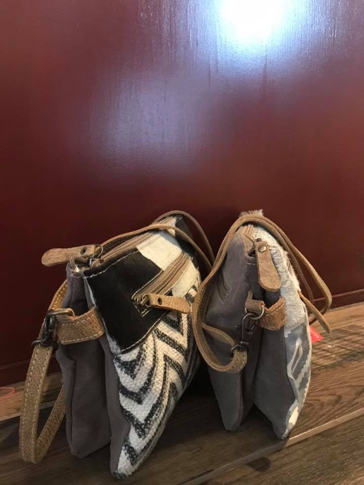 Small Chevron and Cowhide Cross Body Side