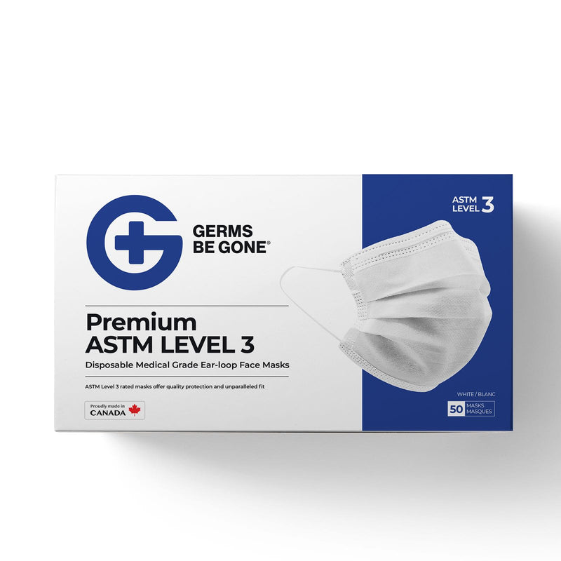 Canadian Made ASTM LEVEL 3 Germs Be Gone Medical Grade Face Mask - 50 Count/Pack